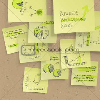 Yellow sticky notes with business infographics on cork board, cl