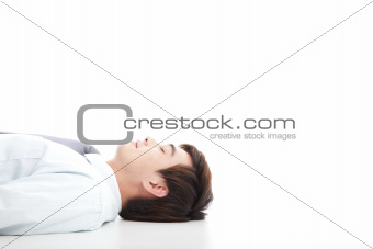 business man lying on floor for rest