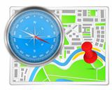 Abstract map with compass and push pin
