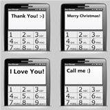 Mobile phone with messages on the screen