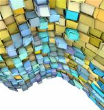 abstract 3d wave shape backdrop in yellow and blue