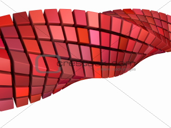 abstract wave swirl 3d shape in red pink on white