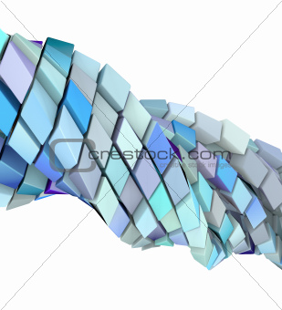 abstract wave swirl 3d shape in blue purple on white