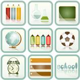 school Supplies icons set