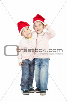 happy asian kids with Christmas hats