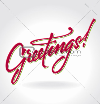 'greetings' hand lettering (vector)