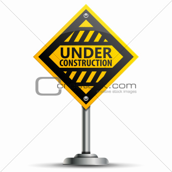 Pole with Under Construction Sign