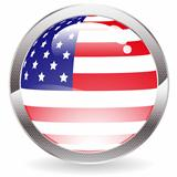 Gloss Button with American Flag