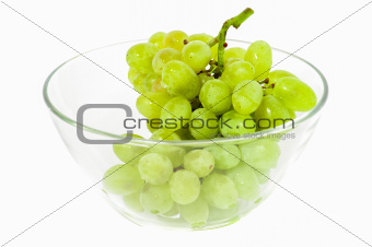 Green grape in glass