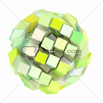 3d abstract cube ball shape in green yellow on white