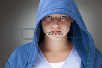Girl in a hooded jacket