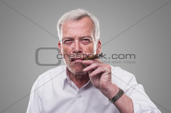 Handsome senior smoking a cigar