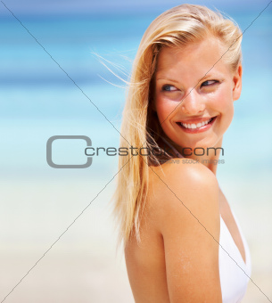Relaxed woman smiling
