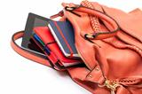 Pink Leather Ladies Handbag with Tablet PC
