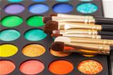 Set of Multicolored Eyeshadows with Brushes