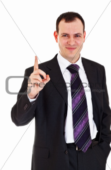 smiling businessman raise finger up