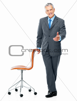 Portrait of happy business man welcoming you