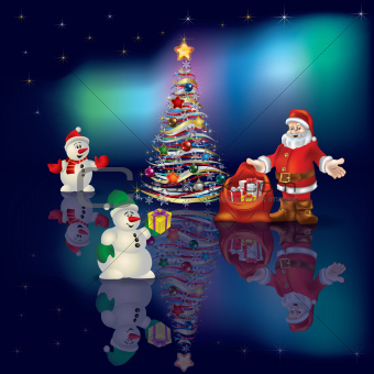 Abstract Christmas blue greeting with Santa Claus and snowmen
