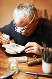 Jeweler working in his workshop