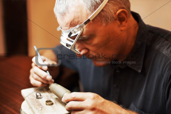 Closeup of jeweler working