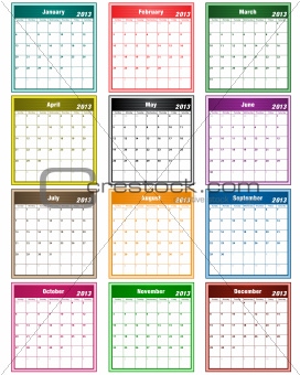 Calendar 2013 assorted colors
