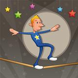 Funny equilibrist is walking on the tightrope.