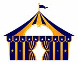 Circus blue tent isolated on white
