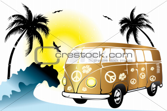 Retro van on the beach
