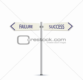 Success and Failure Arrow Road Sign