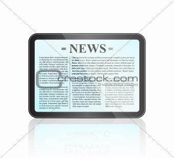 Newspaper Title Page on Tablet Screen