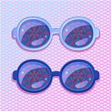 Violet Frame with Abstract Flower Glasses