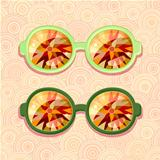 Retro eyeglasses with floral reflection