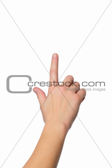close up shot of female hand with a finger touching somethimg or
