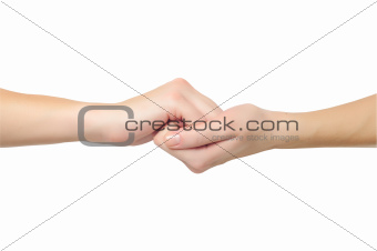 fimale hands in shape of lock holding each other isolated on whi