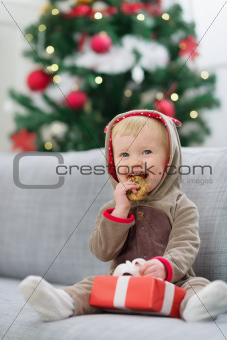 Baby in deer suit with Christmas present box eating cookie