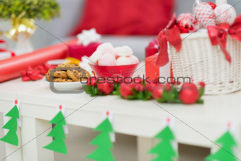 Closeup on table with Christmas decorations