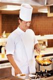 Male cook working in restaurant kitchen