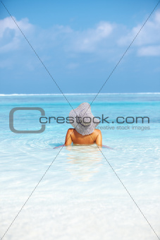 Woman enjoying nature in water