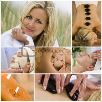 Montage of Beautiful Women Relaxing At Spa