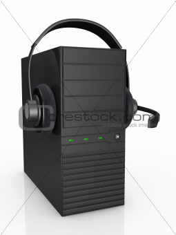 computer and headphones