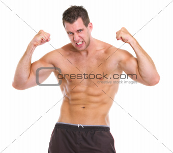 Portrait of angry muscular sports man