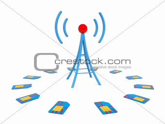 Blue antenna with sim cards
