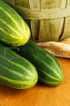 Close Up Of Three Fresh Cucumbers