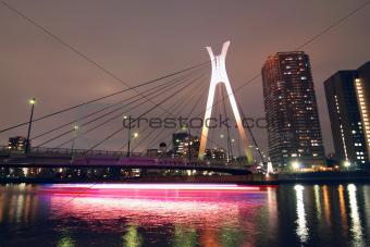 suspension bridge and ship