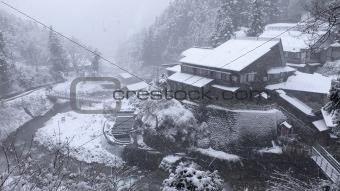 countryside snowfall