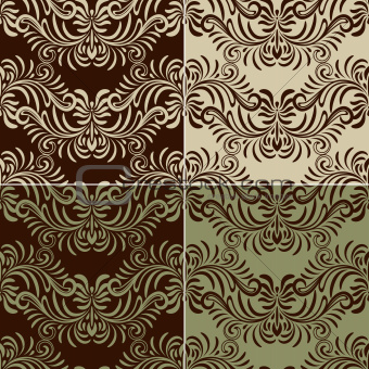 4 Vectro Seamless Vintage Pattern