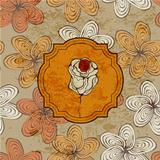 Vector Vintage Card with Rose on Seamless Funky Pattern