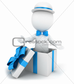 3d white people inside a gift