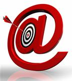 email red symbol and concept target