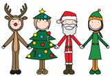 Illustration of four kids holding hand in Christmas costumes